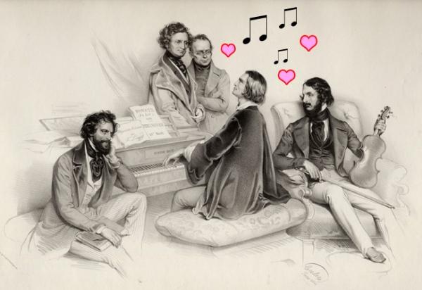 Liszt (el del corte de pelo con las tijeras de podar) y otros románticos dejándose llevar por las musas.