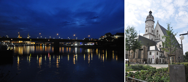 Dresde de noche (precioso) y la Thomaskirche de Leipzig, la iglesia en la que trabajaba Bach diariamente