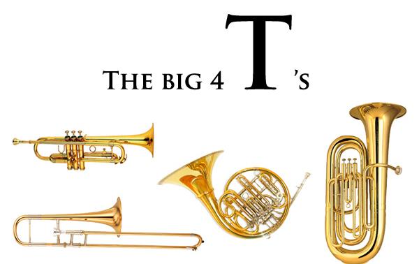 Las 4 grandes T's (de arriba abajo y de izquierda a derecha) trompeta, trombón, trompa y tuba